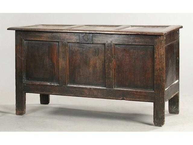 A late 17th/18th Century oak coffer,
