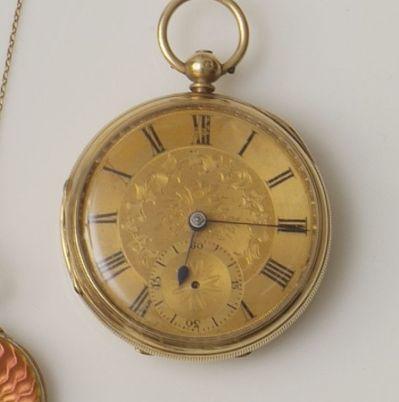 J. Merz: An 18ct gold open face pocket watch