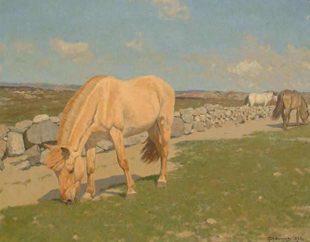 Stan Gustav Herman Ankarcrona (Swedish, 1869-1933) Horses garzing in a landscape, 65 x 81cm (25 1/2 x 31 7/8in)