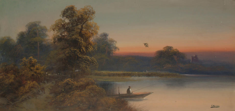 F. Walters (English School, 20th Century) River landscapes with figures, each 29 x 59.5 (11 3/8 x 23 3/8in) (2)