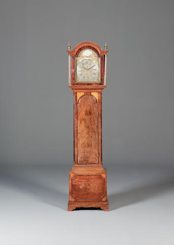 A late 18th century inlaid mahogany longcase clock with deadbeat escapement John Greaves, Newcastle