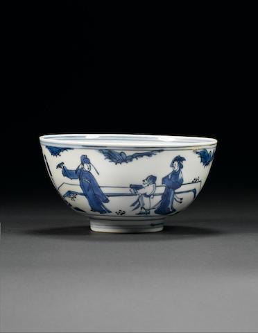 A blue and white bowl Wanli/Tianqi
