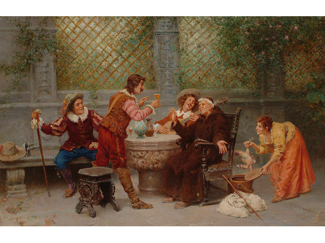 Francesco Bergamini (Italian 19th century) The toast, 43 x 63cm (17 x 24 3/4in)