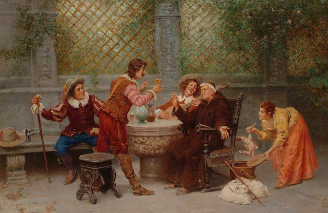 Francesco Bergamini (Italian 19th century) The toast, 43 x 63cm (17 x 24 3/4in)