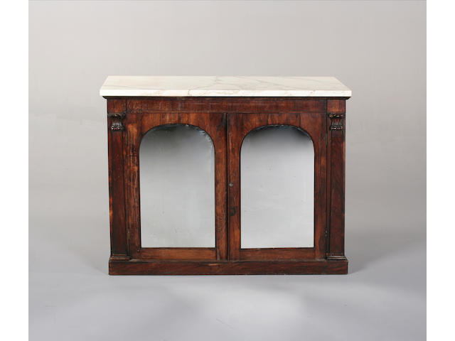 A early Victorian rosewood marble top side cabinet