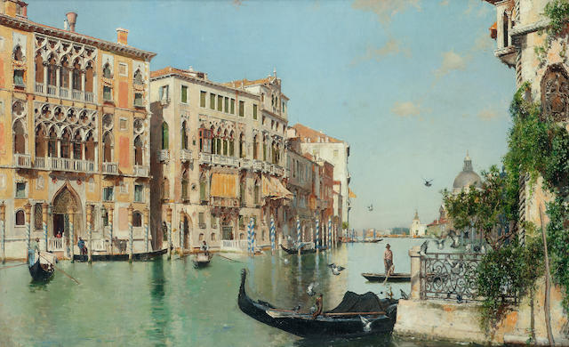 José Moreno Carbonero (Spanish 1860-1942) The Salute seen from the Academia, Venice 39 x 62 cm. (15 1/4 x 24 1/2 in.)