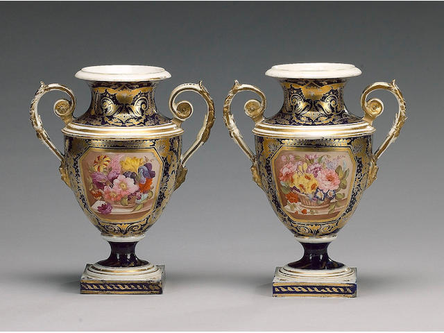A pair of Derby blue ground vases, circa 1810,