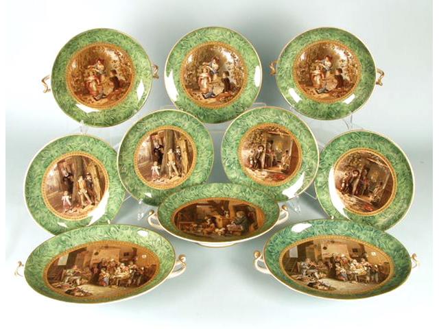 A Prattware part dessert service with malachite borders