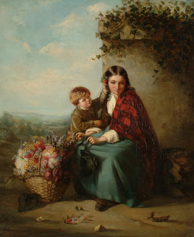 Follower of William Powell Frith The flower girl's young helper, 60 x 50cm (23 5/8 x 19 5/8in)