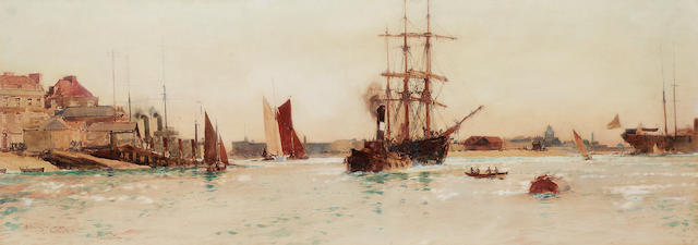 Charles Edward Dixon (British, 1872-1934) 'Entering the Camber, Portsmouth' 27 x 76.2cm. (10 5/8 x 30in.)