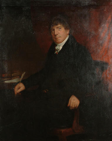 English School Early 19th Century Portrait of a gentleman, seated at a desk, three-quarter-length, in a black coat with a white cravat, 127 x 102cm (50 x 40 1/8in)