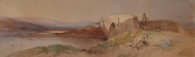 Circle of William Leighton Leitch, A Scottish drover, bears initials and date '1853', watercolour, 16 x 53cm.
