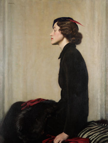 David Jagger (died 1958) Olga 117.5 x 89.5 cm. (46 1/4 x 35 1/4 in.)