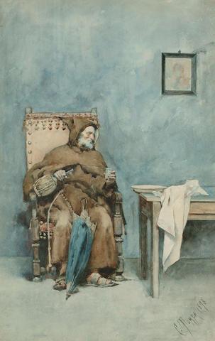 Casimiro Tomba (Italian, 1857-1929)  The monk's refreshment, 54 x 34.5cm (21 1/4 x 13 1/2in)