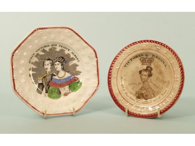 Queen Victoria, 1837 Coronation, a Staffordshire pottery nursery plate