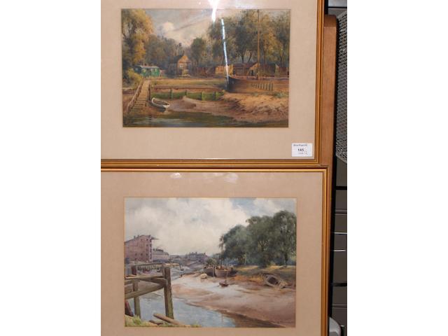 W*B*Thomas (Exh 1908) An estuary scene with buildings beyond 25 x 32cm, 22 x 31cm respectively.