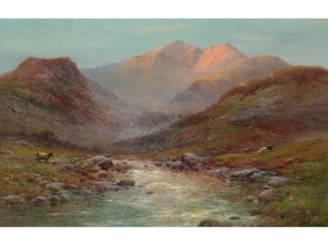Alfred de Breanski Jnr. (British, 1877-1945) 'At the head of Nant Francon, N. Wales', 48 x73cm (18 7/8 x 28 3/4in)