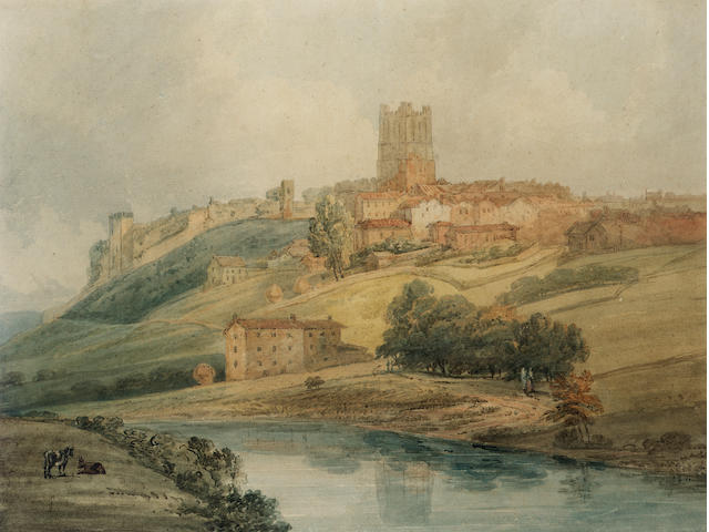 Thomas Girtin (British, 1775-1802) Richmond Castle, Yorkshire 36.5 x 48.5 cm. (14 1/4 x 19 in.)
