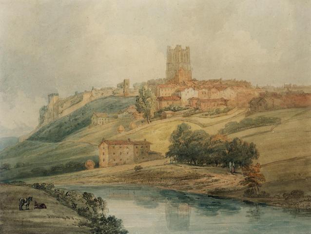 Thomas Girtin (British, 1775-1802) Richmond Castle, Yorkshire 36.5 x 48.5 cm. (14 1/4 x 19 in.)