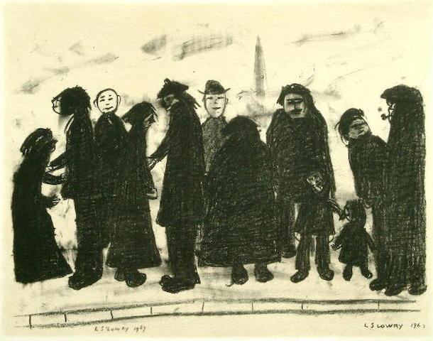 Laurence Stephen Lowry (1887-1976) 'Shapes and Sizes' 45 x 59cm.