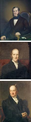 Three 19thc portraits of gentlemen, in gilt frames