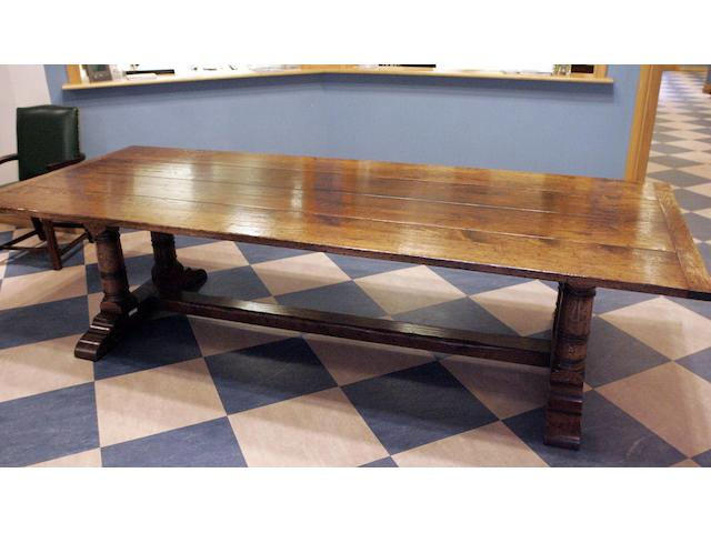 A very large reproduction oak refectory table