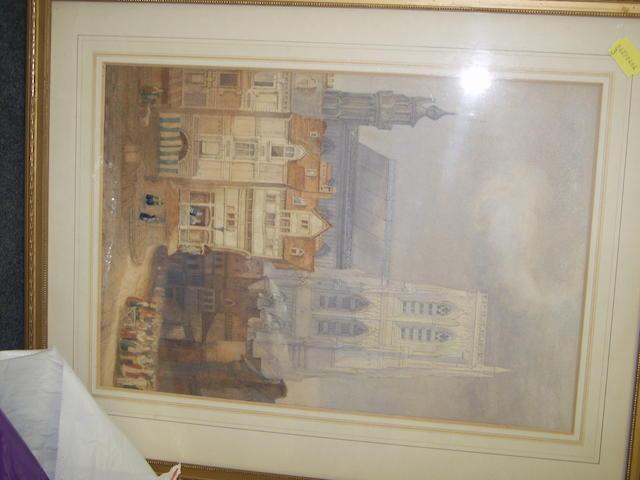 Follower of Samuel Gillespie Prout 'Continental townscape' 44 x 30cm.