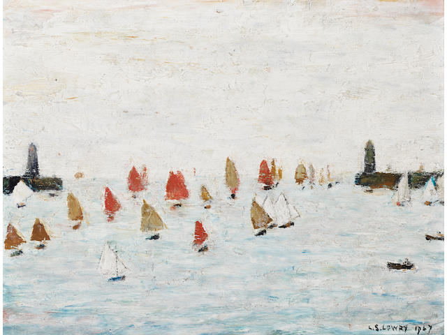 Laurence Stephen Lowry R.A. (1887-1976) Sailing yachts in a harbour 22.6 x 29 cm. (8 7/8 x 11 1/2 in