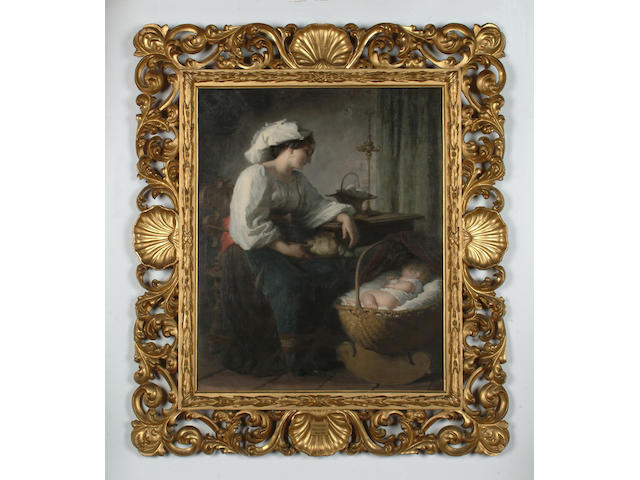 Guiseppe Mazzolini (Italian, 1896-1876) Peaceful slumber, 60 x 49cm (23 5/8 x 19 1/4in)