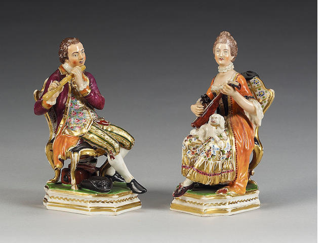 A pair of Bloor Derby figures of musicians, circa 1825,