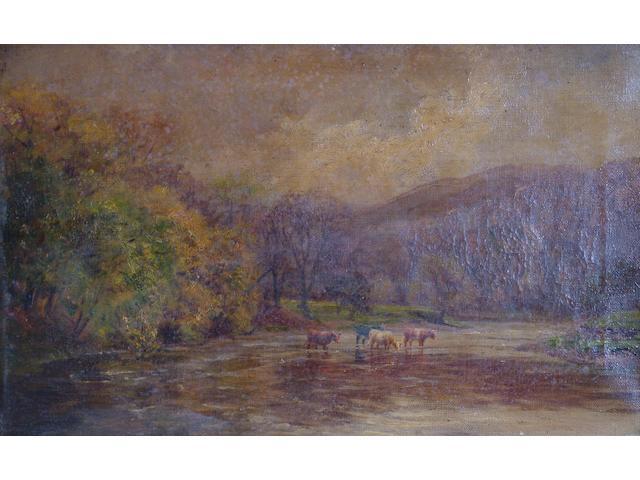 After John MacWhirter 'Highland cattle fording a river' 25 x 41cm