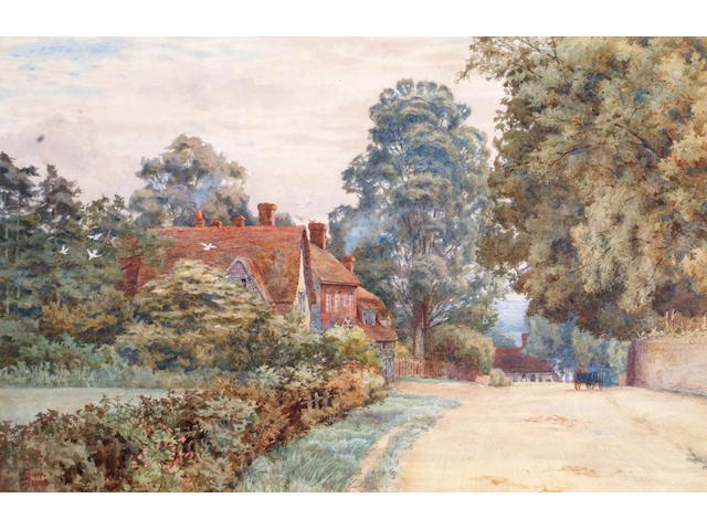 Circle of Thomas Hunn 'A village street in Surrey' 34 x 53cm.