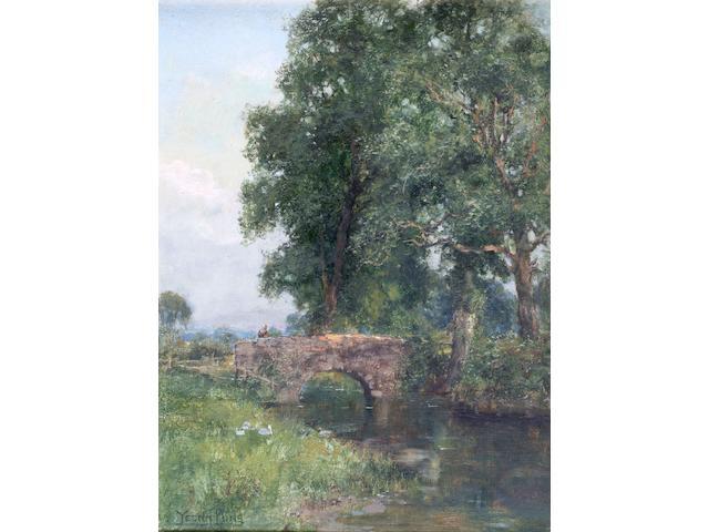 Henry John Yeend King 'Tranquil river landscape with a figure on a bridge' 40 x 30cm.