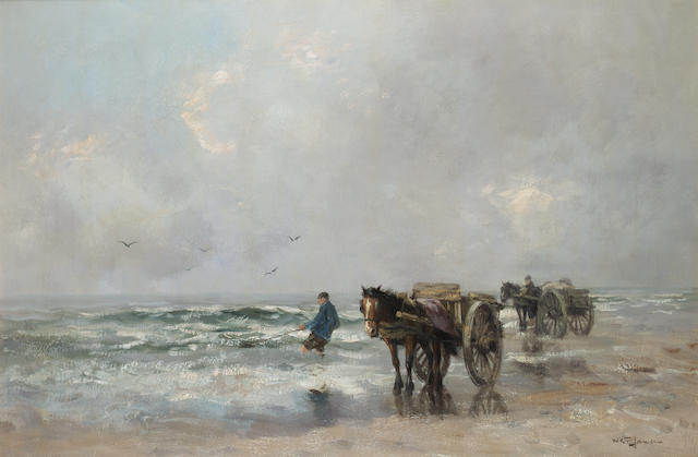Willem George Frederik Jansen (Dutch 1871-1949) Harvesting the sea 61 x 91 cm. (24 x 36 in.)