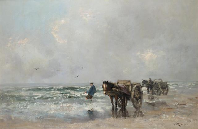 Willem George Frederik Jansen (Dutch 1871-1949) Harvesting the sea 61 x 91 cm. (24 x 36 in.)