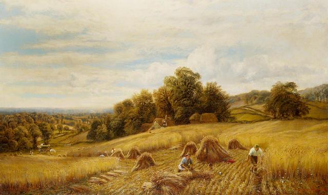 Alfred Augustus Glendening (British fl. 1861-1903) Harvest time 75 x 127 cm. (29 1/2 x 50 in.)