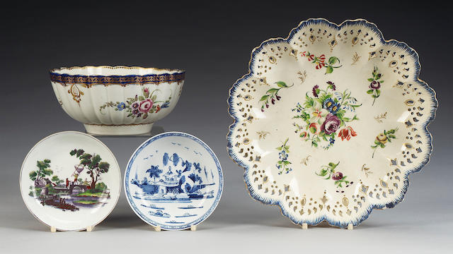 A Worcester 'Marriage' pattern fluted bowl, a Bow saucer, a Worcester saucer and a Wedgwood creamware dish, 18th century,