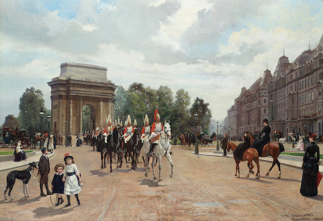 Filippo Baratti (Italian 19th century) Life Guards passing Hyde Park Corner 64 x 92 cm. (25 1/4 x 36 1/4 in.)