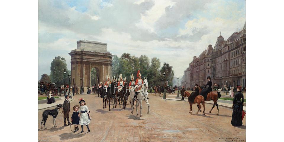 Filippo Baratti (Italian 19th century) Life Guards passing Hyde Park Corner 64 x 92 cm. (25 1/4 x 36 1/4 in.)