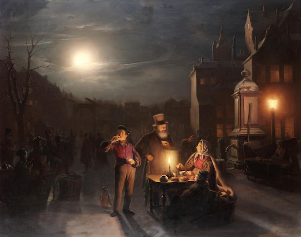 Petrus van Schendel (Belgian 1806-1870) A market stall at night 81 x 102.5 cm. (32 x 40 in.)