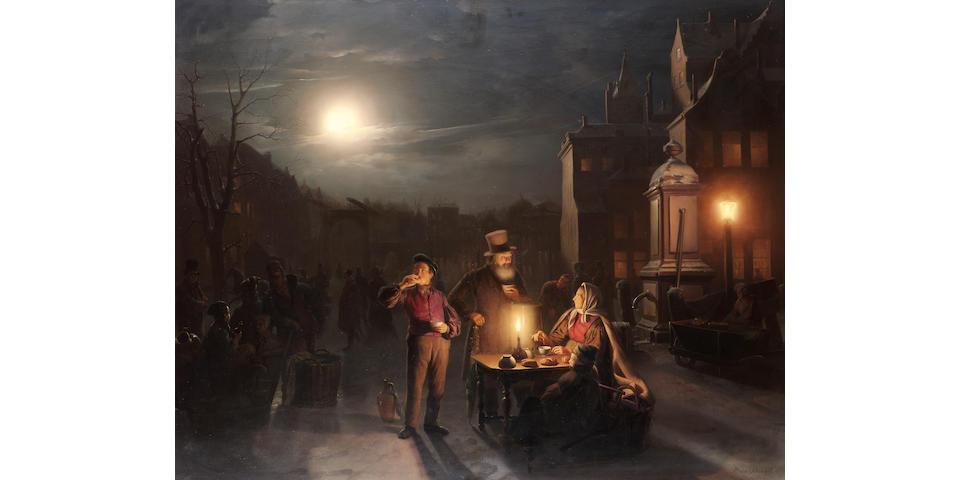 Petrus van Schendel (Belgian 1806-1870) The refreshment stall 81 x 102.5 cm. (32 x 40 in.)
