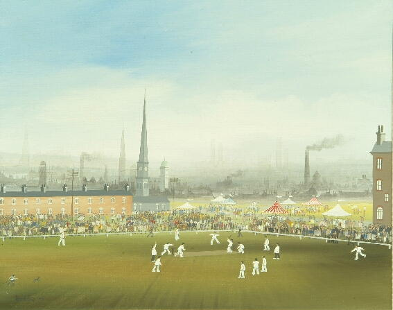 Brian Shields (Braaq) (1951-1997) A view of a cricket match with an industrial landscape beyond 39.5 x 49cm.