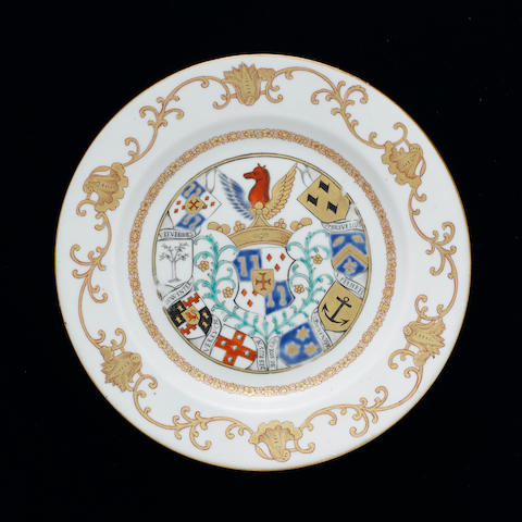 A famille rose armorial plate for the Dutch market Qianlong