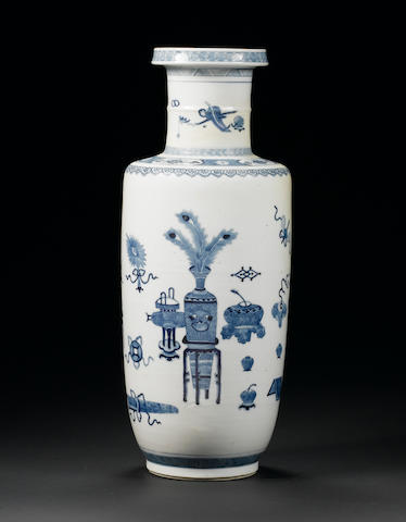 A blue and white rouleau vase 19th century