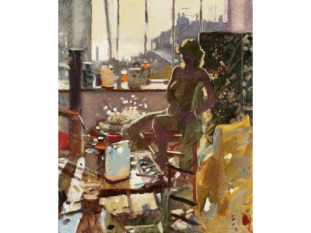 Ken Howard  (British, b.1932) Charlotte in the studio. 61 x 51 cm. (24 x 20 in.)