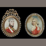 A collection of seventeen portrait miniature frames, the majority gilt-metal set with paste and containing coloured prints of miniatures