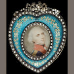A collection of eighteen portrait miniature frames, the majority gilt-metal set with paste and containing coloured prints of miniatures