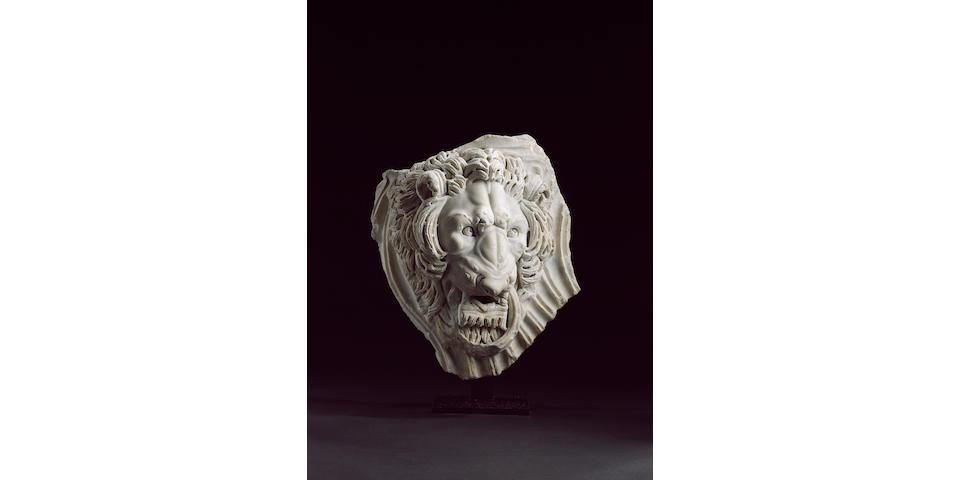 A Roman marble lion head from a strigilated sarcophagus