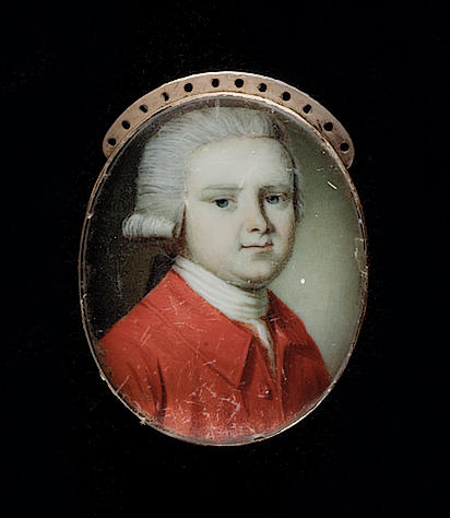 Circle of Richard Crosse, A Gentleman, wearing red coat, white cravat and powdered wig worn en queue; together with a Gentleman, wearing striped waistcoat and a Gentleman, wearing grey coat (3)
