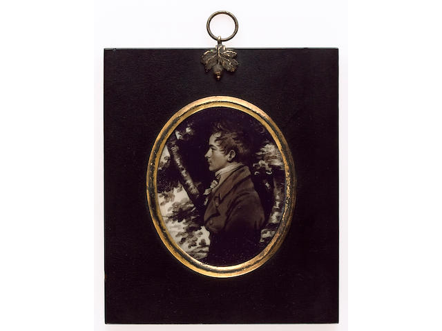 Miss Jane Read, A silhouette of a young Gentleman, profile to the left, wearing coat, waistcoat and tied cravat, woodland background